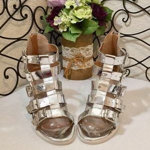 REBELS Chrome Mirrored Buckled Heeled Sandals